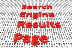 Search engine results page. In the form of binary code, 3D illustration Royalty Free Stock Photography