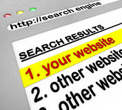 Search Engine Results - Your Site Number One. A search engine browser window shows your website as the top result Stock Images