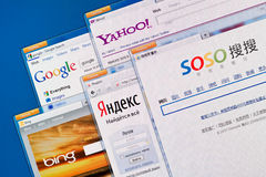 Search engine web sites. Kiev, Ukraine - June 13, 2011 - Search engine web sites on a computer screen, including Google, Yahoo, Bing, Yandex and Soso. These Stock Photography