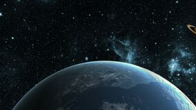 In the search for the exoplanet. Flight in outer space between different planets.