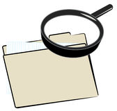 Search for a file. Magnifying glass over top of file folder Stock Photo