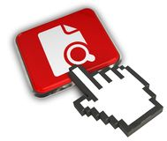 Search File Icon. 3D illustration of Search File Icon - Hand Cursor Click Royalty Free Stock Photos