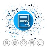 Search in file sign icon. Find in document. Button on circles background. Search in file sign icon. Find in document symbol. Calendar line icon. And more line Royalty Free Stock Photo