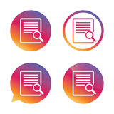 Search in file sign icon. Find in document. Stock Images
