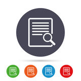 Search in file sign icon. Find in document. Search in file sign icon. Find in document symbol. Round colourful buttons with flat icons. Vector Stock Photos