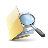 Search file. Vector illustration of search concept with yellow folder with paper icon and magnifying glass, isolated on white background vector illustration