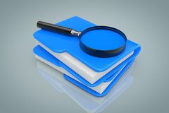 Search Files Concept. Magnifying Glass over File Folders. 3d Ren. Search Files Concept. Magnifying Glass over File Folders on a gray background. 3d Rendering Royalty Free Stock Images