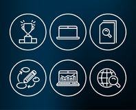 Search files, Laptop and Winner podium icons. Keywords, Web analytics and Internet search signs. Stock Image