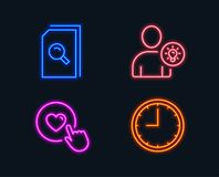 Search files, User idea and Like button icons. Time sign. Magnifying glass, Light bulb, Press love. Neon lights. Set of Search files, User idea and Like button Stock Image
