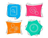 Search files, User idea and Like button icons. Time sign. Magnifying glass, Light bulb, Press love. Set of Search files, User idea and Like button icons. Time Royalty Free Stock Images