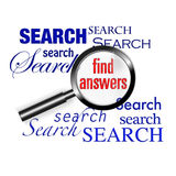 Search find answers magnify glass. An image for the concept of search and find answers using the internet and world wide web search engines to find the documents Royalty Free Stock Photos