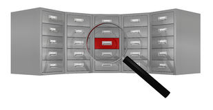 Search and find data. Front view of a big file drawer with a magnifying glass that focus on a red drawer (3d render Stock Photography