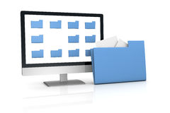 Search and find data. One computer desktop with some folder on the screen and a big one out of the screen, concept of searching and finding data (3d render Stock Photography