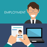 Search and find employment. Graphic theme design, vector illustration Royalty Free Stock Photography