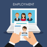 Search and find employment. Graphic theme design, vector illustration Stock Photo