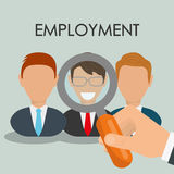 Search and find employment. Graphic theme design, vector illustration Stock Image