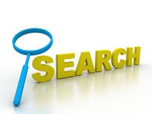 Search find information detective research. 3D button icon explore discover Royalty Free Stock Image