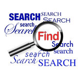 Search find magnify glass. An image for the concept of search and find using the internet and world wide web search engines to find the documents you require stock illustration