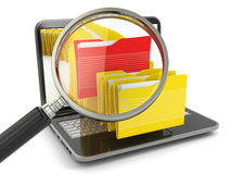 Search folder. Laptop, loupe and files. Stock Photos
