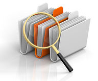 Search Folders. 3D render illustration of magnifying glass focusing on archive folders Royalty Free Stock Images