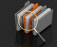 Search Folders. 3D render illustration of magnifying glass focusing on archive folders Stock Photo