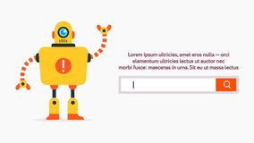 Search form abstract. Search web form UI UX design web banner with the cute robot in simple shapes flat design style. Vector web form with the button and search stock illustration