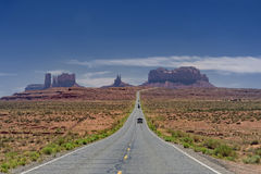 In Search of Forrest Gump. Dramatic view of the Highway to Monument Valley Royalty Free Stock Photo