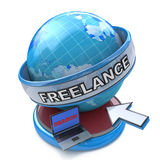 Search for freelance work on the Internet network. In the design of information related to information technology Stock Images