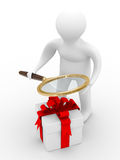 Search of gifts. Isolated 3D image. White background Stock Photos