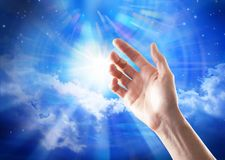 Search Spirituality Hand God Meaning Heaven. The search for God, meaning, spirituality with a sky and stars Royalty Free Stock Photos