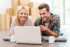 In search of a good moving company. Stock Photography