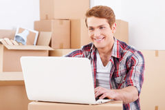 In search of a good moving company. Stock Images