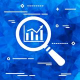 Search graph icon flat on a blue background, search icon design, Royalty Free Stock Images