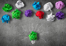 In search of great idea. Inspiration concept with crumpled paper light bulb as good idea stock photography