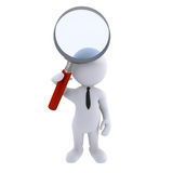 Search. Guy searching on web with loupe Stock Images