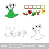 Search the hidden word, the simple educational kid game. Educational puzzle game for kids. Find the hidden word Alien Royalty Free Stock Image