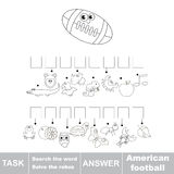 Search the hidden word, the simple educational kid game. Educational puzzle game for kids. Find the hidden word American Football Stock Photos