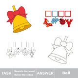Search the hidden word, the simple educational kid game. Educational puzzle game for kids. Find the hidden word Bell Stock Images