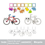 Search the hidden word, the simple educational kid game. Educational puzzle game for kids. Find the hidden word Bicycle Royalty Free Stock Photography