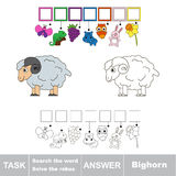 Search the hidden word, the simple educational kid game. Educational puzzle game for kids. Find the hidden word Bighorn Stock Photos