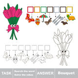 Search the hidden word, the simple educational kid game. Educational puzzle game for kids. Find the hidden word Bouquet Royalty Free Stock Images