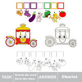 Search the hidden word, the simple educational kid game. Educational puzzle game for kids. Find the hidden word Chariot Stock Images
