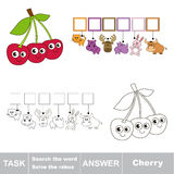 Search the hidden word, the simple educational kid game. Educational puzzle game for kids. Find the hidden word Cherry Stock Photos