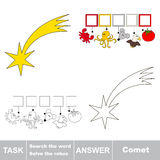 Search the hidden word, the simple educational kid game. Educational puzzle game for kids. Find the hidden word Comet Stock Image
