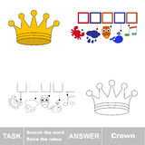 Search the hidden word, the simple educational kid game. Educational puzzle game for kids. Find the hidden word Crown Stock Photography
