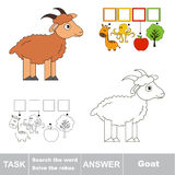 Search the hidden word, the simple educational kid game. Educational puzzle game for kids. Find the hidden word Cute Brown Goat Royalty Free Stock Photo