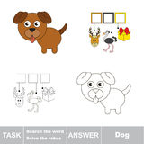 Search the hidden word, the simple educational kid game. Educational puzzle game for kids. Find the hidden word Dog Stock Photo
