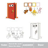 Search the hidden word, the simple educational kid game. Educational puzzle game for kids. Find the hidden word Door Royalty Free Stock Photos