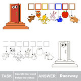 Search the hidden word, the simple educational kid game. Educational puzzle game for kids. Find the hidden word Doorway Stock Photography
