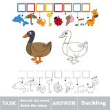 Search the hidden word, the simple educational kid game. Educational puzzle game for kids. Find the hidden word Duckling Stock Photos